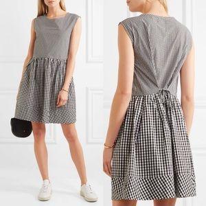 Madewell Black White Gingham Shift Tie Waist Dress